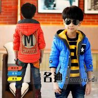Children's clothing boys clothing 2013 wadded jacket plus velvet child cotton-padded jacket outerwear child outerwear