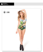 2014 One Piece Bikini Swimwear Bathing Suits Women Galaxy Alice And Caterpillar Digital Printing Swimsuit Free Shipping YQ1001
