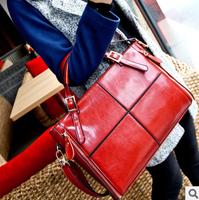 Fashion genuine leather handbag women's patchwork handbag cowhide handbag messenger bag