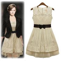 Vintage Lace Dress Sleeveless Tank Vestidos With Belt Slim Sweet Party Dress Spring-Autumn 9948