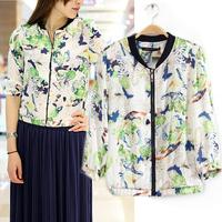 2014 Spring wholesale new arrival women butterfly print jacket lady fresh zipper slim punk outerwear