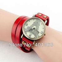 2014 New Women's Vintage Tower Dial Long Strap Leather Band Quartz Analog Bracelet Wrist Watch (Assorted Colors)