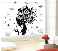Free shipping Removable black flower spirit PVC waterproof background sticker wall decor 50*70 cm