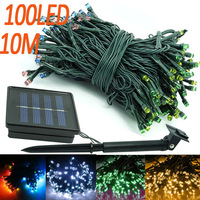 10M 100LEDs Auto sensor control solar LED strip light white yellow blue green multicolor party garden decoration string lamp