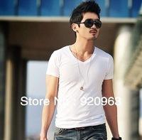 HOT!!  new arrival  men's short sleeve T-shirt v-neck  cotton lycra pure color  men's t-shirt