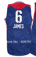 Free shipping 2013 all star #6 Lebron James blue jersey, Embroidery logos men's cheap basketball jerseys,Size44-56.