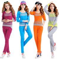New 2014 Women sport wear 100% cotton Long Sleeve leisure casual sports suit Korean version sportswear women clothing XL XXL