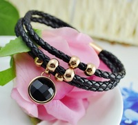 New Arrivaling Fashion Cuff Bracelet,Unique 3 Surround Circles Leather Chain,rose Gold Plated Metal with Black round Ceramic