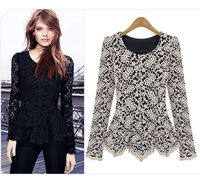 2013 street lace long-sleeve basic shirt slim o-neck sweater cutout lace shirt 8038