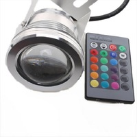 Free Shipping LED 10W 12V Underwater Spot Light RGB Multicolor Changing Remote Control Light Holiday Waterproof Lamp