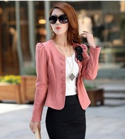 2013 autumn slim ol elegant double breasted blazer short design plus size blazer