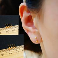 Asia pacific new arrival pure silver kim k small mini golden beads stud earring sensitive