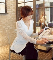 2013 new Korean lace long-sleeved shirt Slim was thin chiffon v-neck shirt and long sections wild temperament lace shirt