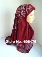 mu1407 hot sale with a lot of hot drill one piece islamic hijab mix colors fashion muslim hijab free shipping