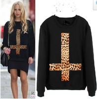 HOT SALE women's turtleneck sweatshirts harajuku animal print hoodies leopard Cross pullovers free shipping