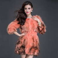 Raccoon skin fur cape hare wool outerwear medium-long women's 2014 fur coat P6