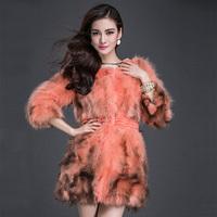 Raccoon skin fur cape hare wool outerwear medium-long women's 2014 fur coat P6