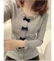 Beads bow bubble -sleeved shirt collar sweater knit pullover tops 3 colors