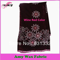 French l Velvet fabric with free shipping,high quality African fabrics textile material  AMY-2633-wine red