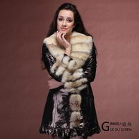 Winter women's 2013 medium-long japanned leather clothing sheepskin fox leather coat