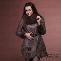 Winter women's 2013 fox fur sheepskin genuine leather wadded jacket leather clothing mink sweep outerwear