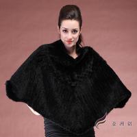 2013 women's mantissas mink knitted fur cape hair outerwear cloak