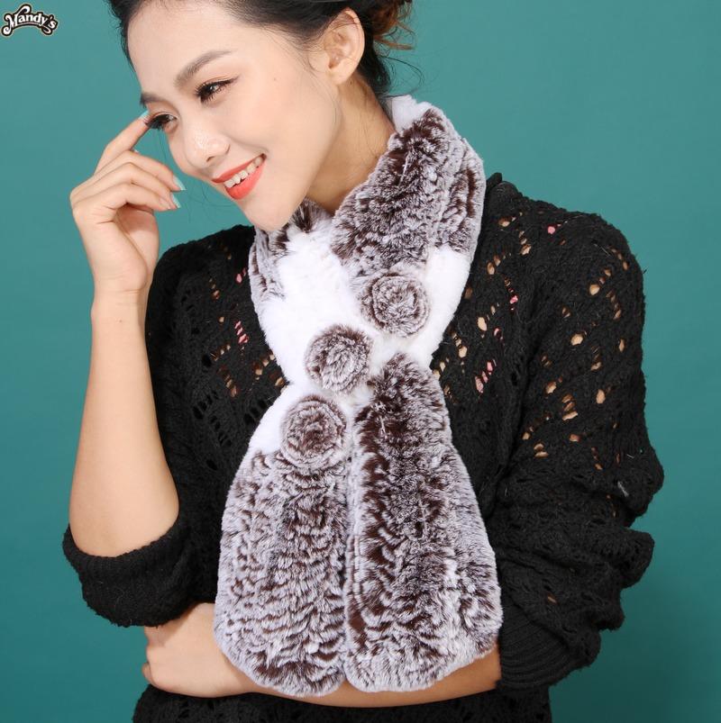Rex rabbit hair muffler scarf fur scarf fashion flower two-color rex rabbit scarf muffler scarf(China (Mainland))