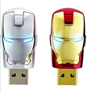 Free+Drop shipping New 2014 Classical Gold/Silver Iron man head model usb 2.0 memory flash stick pen drive(China (Mainland))