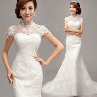 Vintage White Organza Lace Bride Wedding Dresses Floor-Length Train Pearl Diamond Bridal Plus Size Winter Wedding Dress