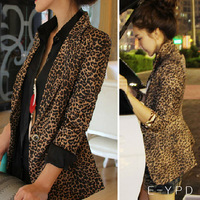2013 Autumn And Winter Women Street One Button Leopard Print Slim Blazer Outerwear