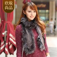 2014 autumn and winter female yarn scarf ostrich fur scarf turkey wool muffler scarf h82