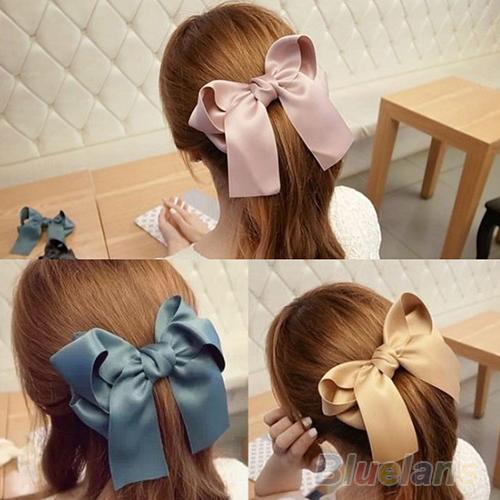 Hair Accessories Korean Women Multicolor Satin Ribbon Bow Hair Clip s Barrette Ponytail Holder(China (Mainland))