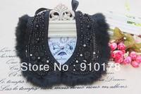 fashion women false collar necklace faux pearls rabbit fur fake collar fashion costume accessory FC075