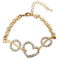 NEW 2014 Fashion Brand Jewelry Gold Plated Peach Heart Imitated Diamond DIY Bracelet for Young Women B039.  Free Shipping