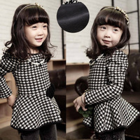 Houndstooth 2013 winter female child plus velvet thickening one-piece dress small dress pearl necklace