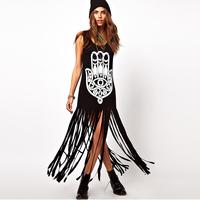 Smss fashion street print tassel sleeveless tank dress long design one-piece dress