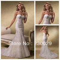 DHL Free Shipping Mermaid Style 2013 Free Shipping Beautiful Lace Bridal Designer Discount Wedding Dress BW13007