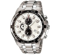 New 539D Chronograph Sport 100M Mens Watch EF-539D EF-539D-7AV White Dial Gents Wristwatchfree hk post shipping