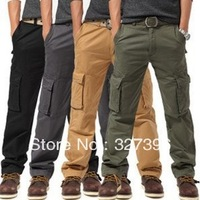 High Quality Mens Pockets Outdoor Cargo Pants Casual Sport Loose Pants Spring Hiking Outdoors Cargo Trousers Cotton 4 Colors