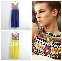 2015 New Fashion Women Indian Ethnic Printed Bohemian Sleeveless Pleated Stitching Chiffon Dress Ladies Summer Sundress Vestidos