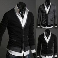 Men Slim Luxury Syllish Casual Cardigans Fake Pocket Woolen Knitted Sweater M L XL Gary/ Black Wholesale & Retail Free shipping