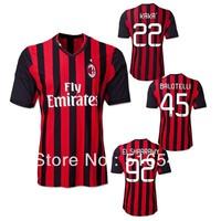Free shipping TOP  thailand quality AC milan home soccer jersey shirt  45 BALOTELLI KA KA  92# EL SHAARAWY jerseys