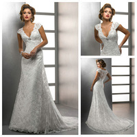 Floor Length With Short Train Beach Casual Cap Sleeve Wedding Dress With Short Sleeve 2013 Back With Lace See Through BW13171