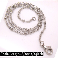 Wholesale-50piece 45-50-55-61mm long Rhodium Plated IRON 2mm Hoop Polo Chains with Lobster Clasps for diy Necklace