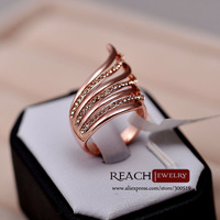 K8044 Fashion Trendy 18K Rose Gold Plated Shell Style Rhinestone Crystal Rings For Women Party Rings Jewelry Gift