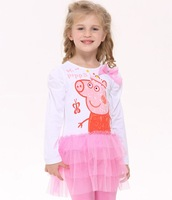 Nova 2014 baby clothing girls dress  peppa pig new fashion full sleeves dress baby girls lovely lace dresses H4372#
