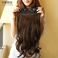 28'' long, 4 colors, japan high temperature fiber, lace clip in hair extension, wavy synthetic hair wig, 1pcs