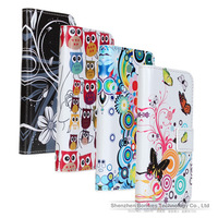 Five Hues Pattern Design Book Folio Flip Wallet Cover Pu Leather Case for Galaxy S4 Min i9190, Free Drop Shipping