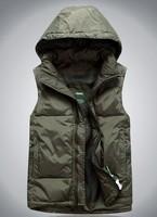 Free shipping  Hot sales! Free shipping!Hot sales!2014 outdoor feather waistcoat hooded vest for men