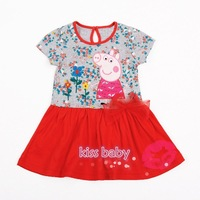 2014 new peppa pig short sleeves baby girl party dress with big lace bowknot 100% cotton cute girls dresses beautiful clothes